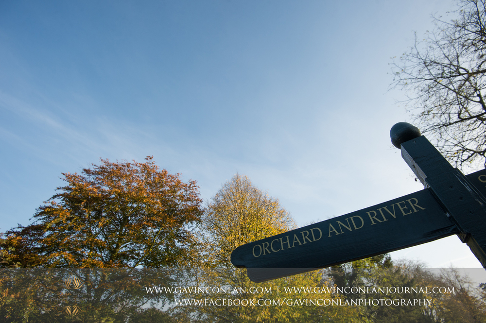 orchard and river signpost at Grantchester, Cambridgeshire
