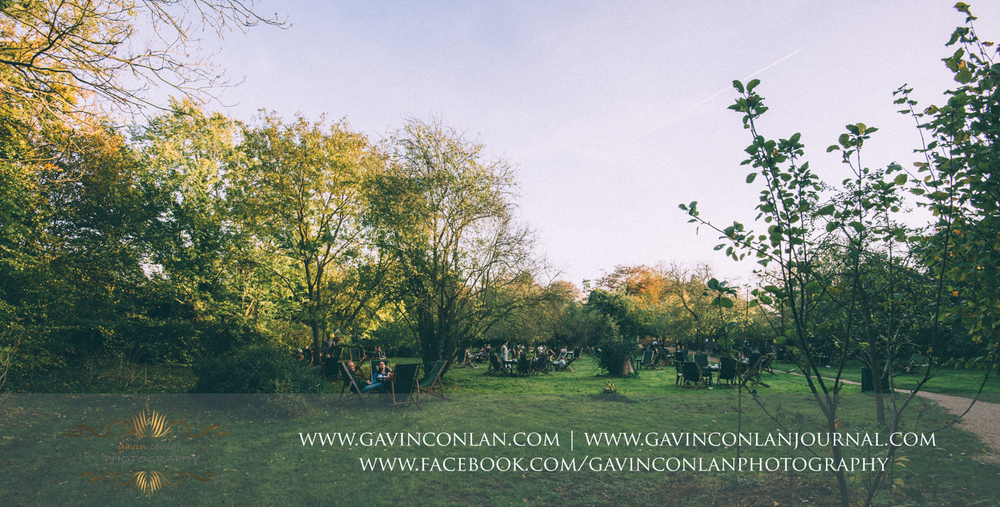 the gardens and seating area of the Orchard Tea Rooms, Grantchester Cambridgeshire
