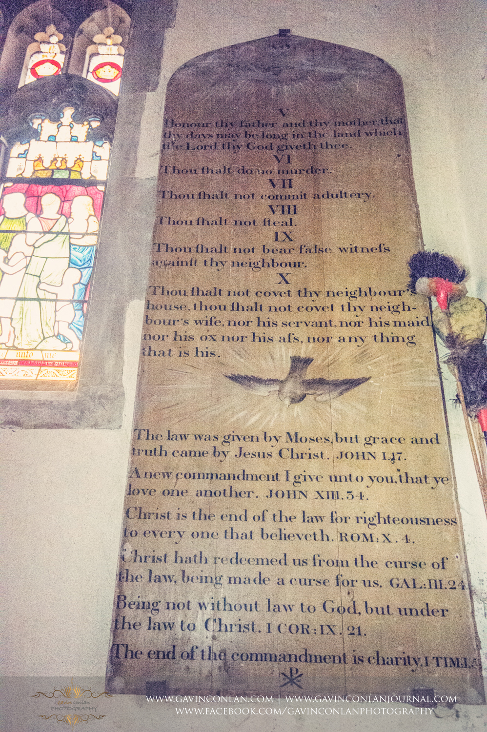 the ten commandments written on the wall in St Andrew and St Mary Parish Church in Grantchester, Cambridgeshire