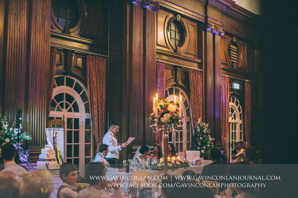 the groom doing his speech, wedding photography at  Heatherden Hall Pinewood Studios  by  gavin conlan photography Ltd