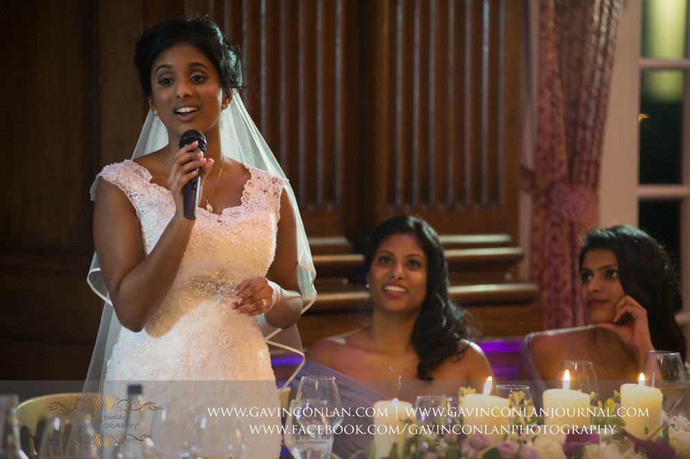 the bride giving her speech, wedding photography at  Heatherden Hall Pinewood Studios  by  gavin conlan photography Ltd