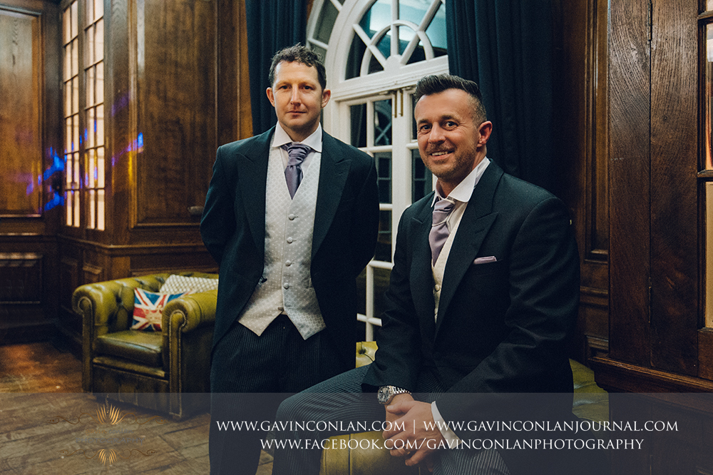 the groom and his best man, wedding photography at  Heatherden Hall Pinewood Studios  by  gavin conlan photography Ltd