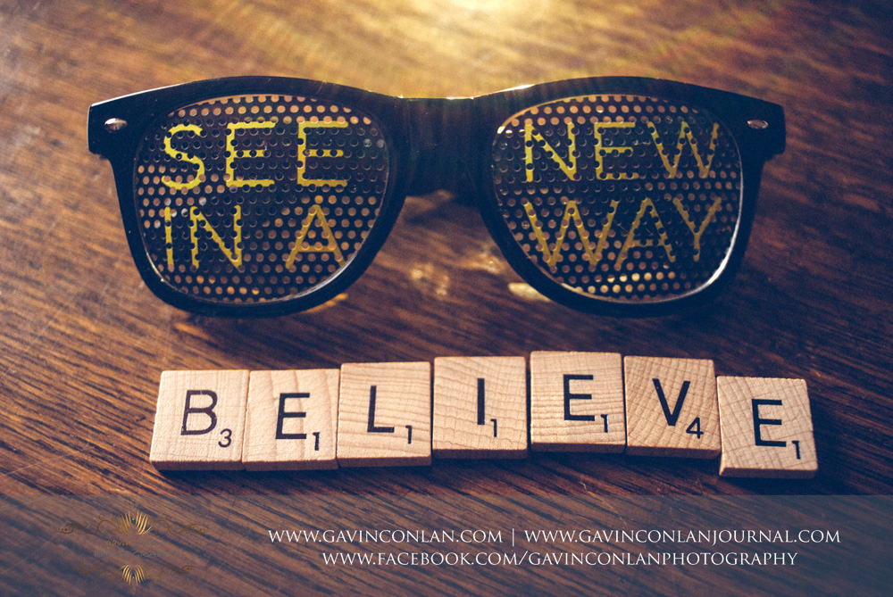 Lensbaby See ina New Way sunglasses with message saying believe