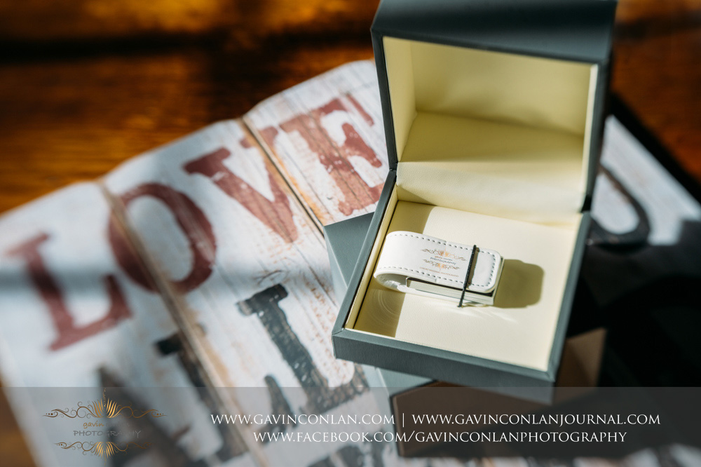 gavin conlan photography Ltd grey branded open custom slide box showing the white branded USB drive