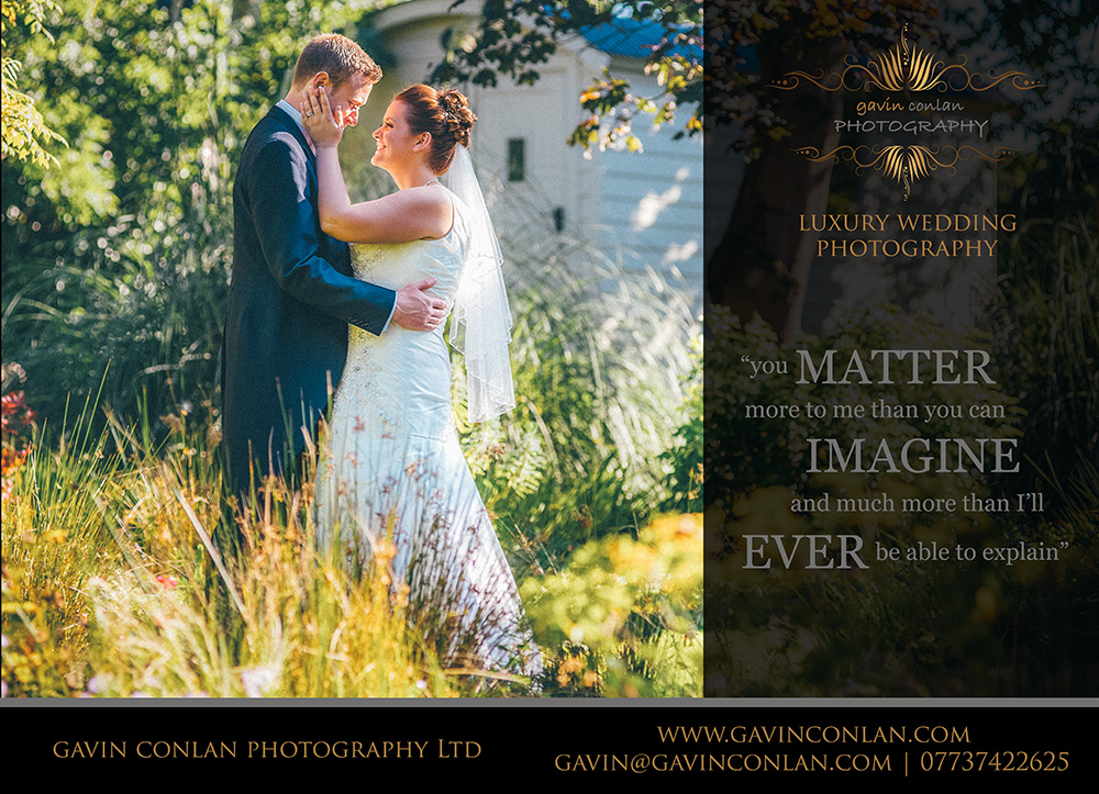 an essex wedding magazine advert by gavin conlan photography Ltd showcasing a wedding at Moor Hall Venue in Essex