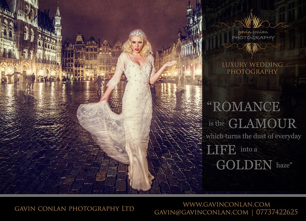 an essex wedding magazine advert by gavin conlan photography Ltd showcasing a creative bridal portrait taken at the famous Grand Place or Grote Markt in Brussels Belgium