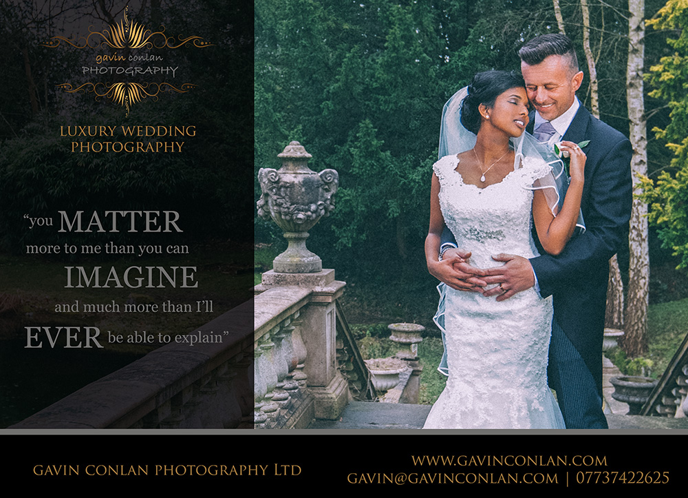 absolute bridal magazine advert by gavin conlan photography Ltd showcasing a wedding at Heatherden Hall - Pinewood Studios in Buckinghamshire