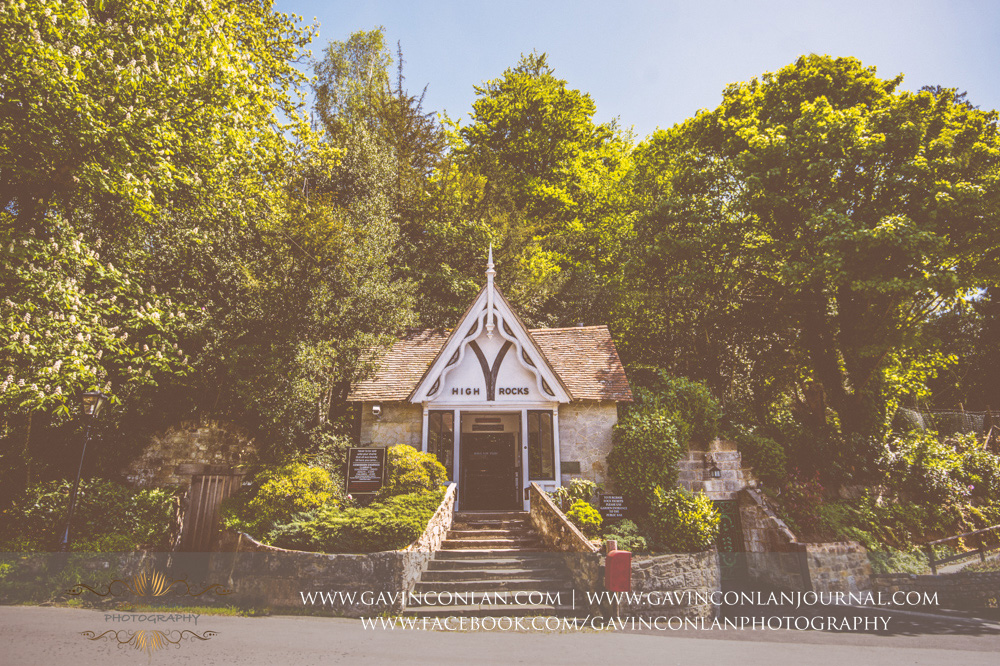 exterior to the entrance of the rocks. Wedding photography at  High Rocks  by preferred supplier  gavin conlan photography Ltd