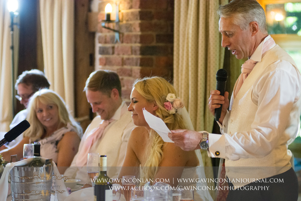 portrait of the father of the bride during his speech. Wedding photography at  High Rocks  by preferred supplier  gavin conlan photography Ltd