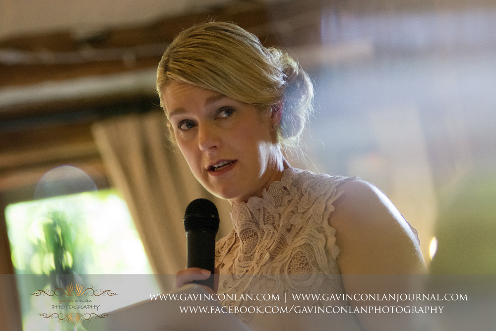portrait of the maid of honour during her speech. Wedding photography at  High Rocks  by preferred supplier  gavin conlan photography Ltd