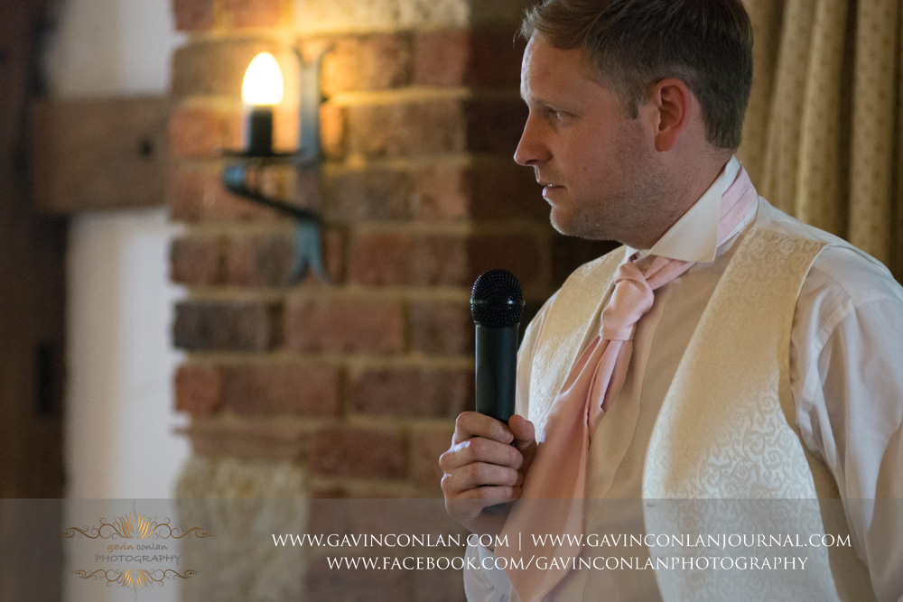 portrait of the groom during his speech. Wedding photography at  High Rocks  by preferred supplier  gavin conlan photography Ltd