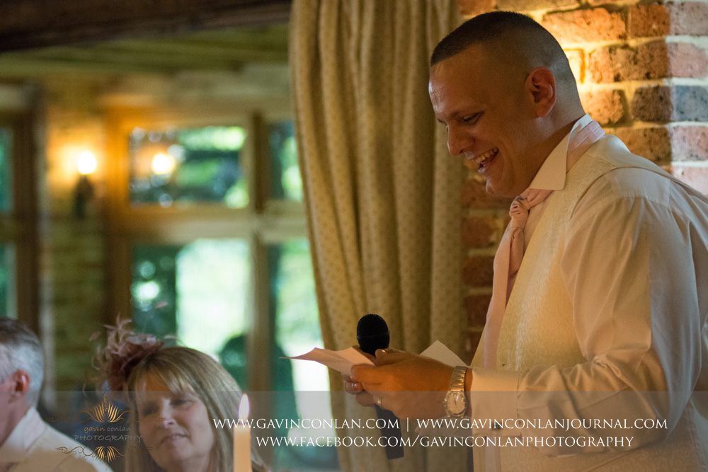 portrait of the best man during his speech. Wedding photography at  High Rocks  by preferred supplier  gavin conlan photography Ltd