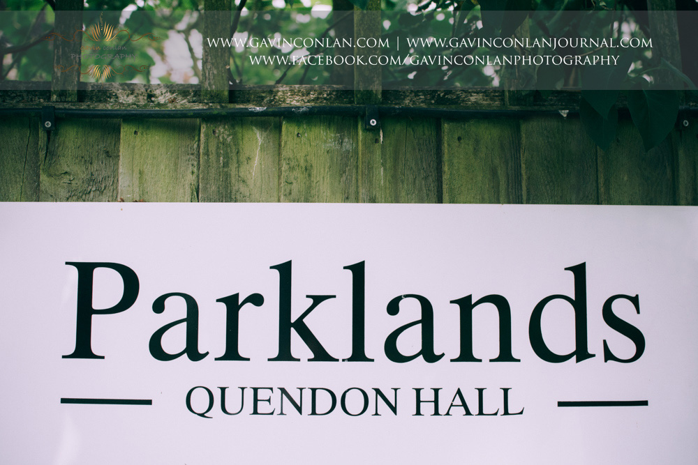 Parklands Quendon Hall signage. Wedding photography at Parklands Quendon Hall by preferred supplier gavin conlan photography Ltd