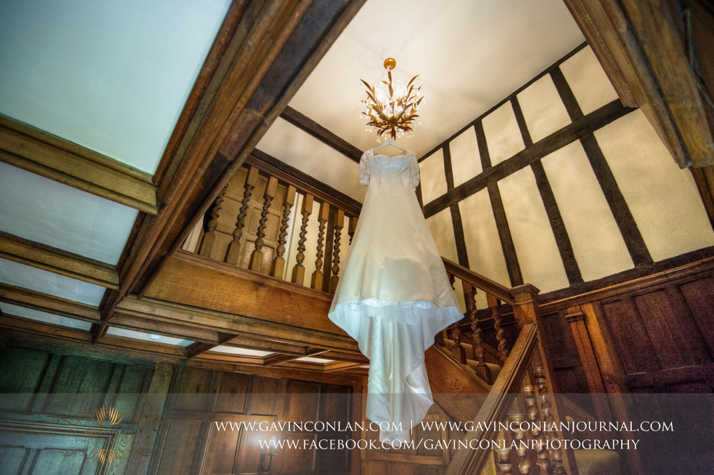 creative wedding dress detail photograph. Wedding photography at  Parklands Quendon Hall  by preferred supplier  gavin conlan photography Ltd