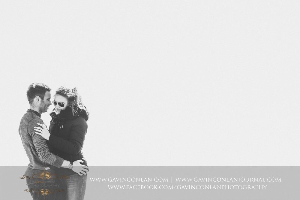 creative fine art black and white portrait of Victoria and James at  Old Harry Rocks , Engagement Session in Bournemouth, Dorset by  gavin conlan photography Ltd