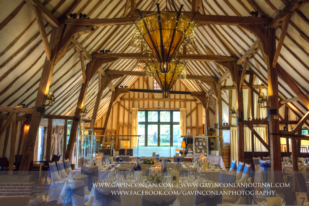 interior photograph of the The Barn all set up for a wedding. Wedding photography at The Barn Brasserie by Essex wedding photographer gavin conlan photography Ltd