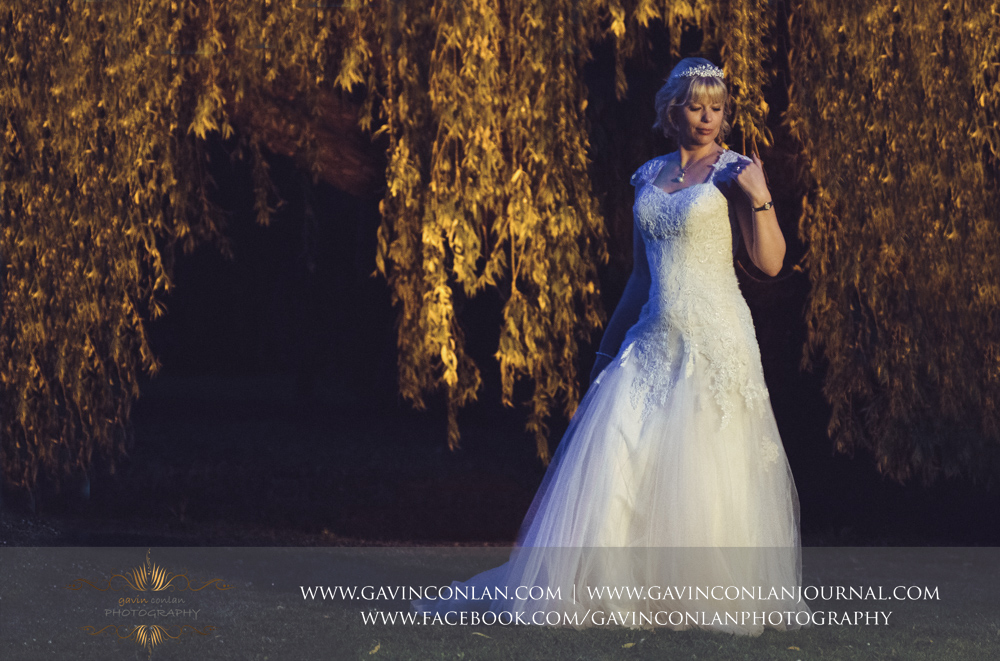 beautiful and elegant bridal portrait outside The Barn. Wedding photography at  The Barn Brasserie  by Essex wedding photographer  gavin conlan photography Ltd