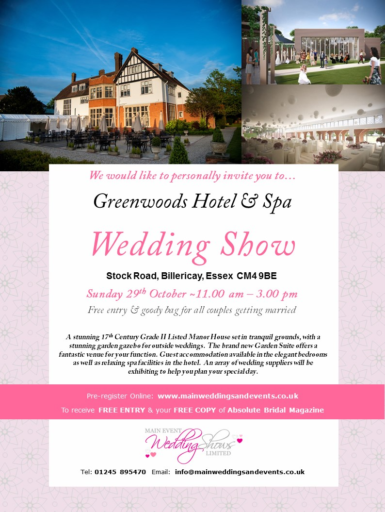 gavin conlan photography Ltd invites you to attend the Greenwoods Hotel & Spa Wedding Show this Sunday the 29th October 2017 between 11AM and 3PM.