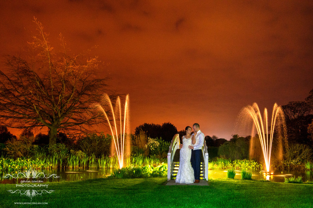 bride and groom night time portrait at the fennes