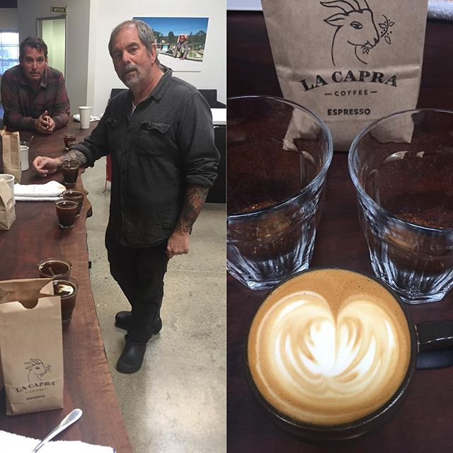 Cupping new arrivals at La Capra.