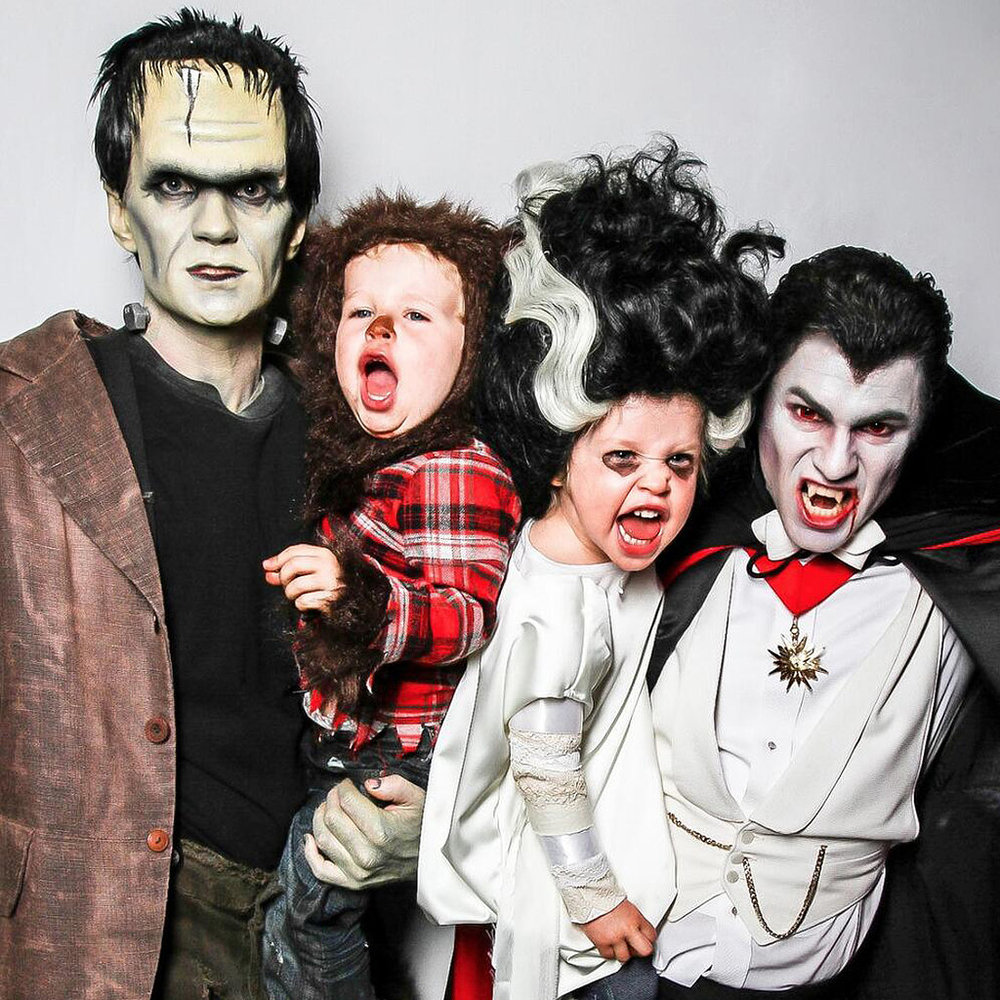 Neil Patrick Harris and family all dressed up for Halloween. The scariest part? All that makeup is going to leave a terrifying mess!
