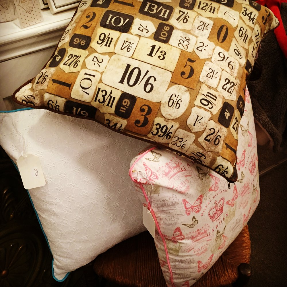 Beautiful handmade throw pillows now available at Bella Luna