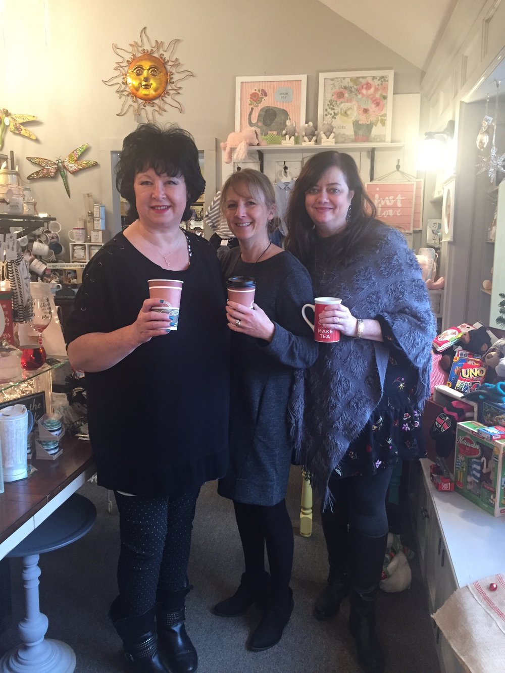 Deb, Ali and Clare enjoying a    brew