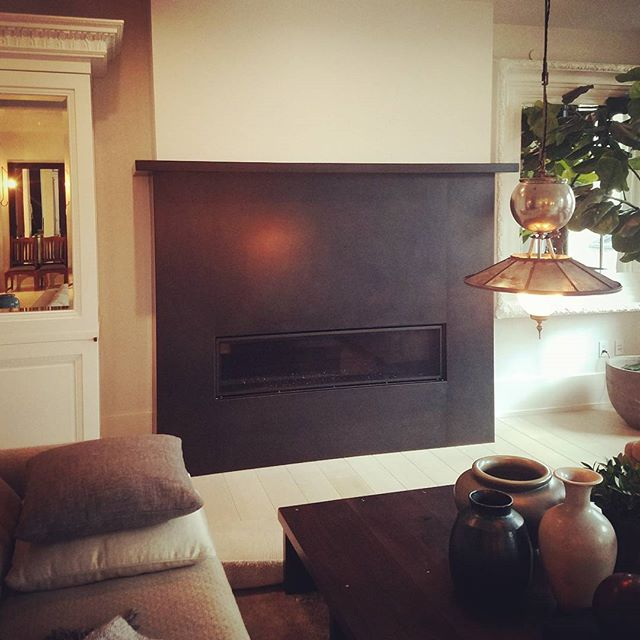 #blackenedsteel #fireplace with #mantle #industrial  #patina #steelfab #fabrication