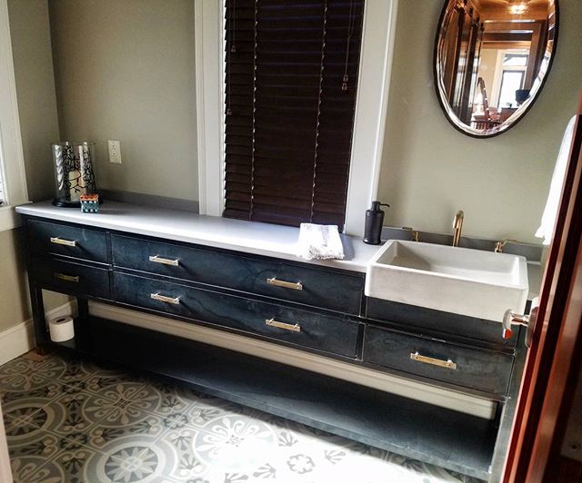#hotrolledsteel and #brass #vanity we built a few months ago. #steelfab #steelfurniture #fabrication #patina #powderroom