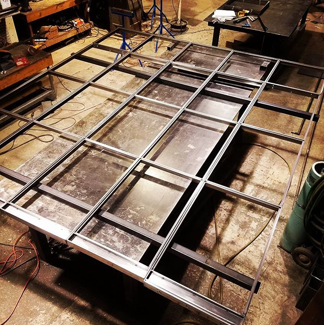 #steel and #glass #wall with door coming together. #fabshop #steelfab #fabrication