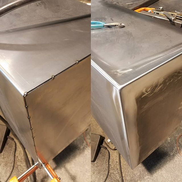 Welding and blending corners on a large fireplace mantle. #mig #tig #weld #grind #14ga #coldrolled #steel #steelfab #fabrication