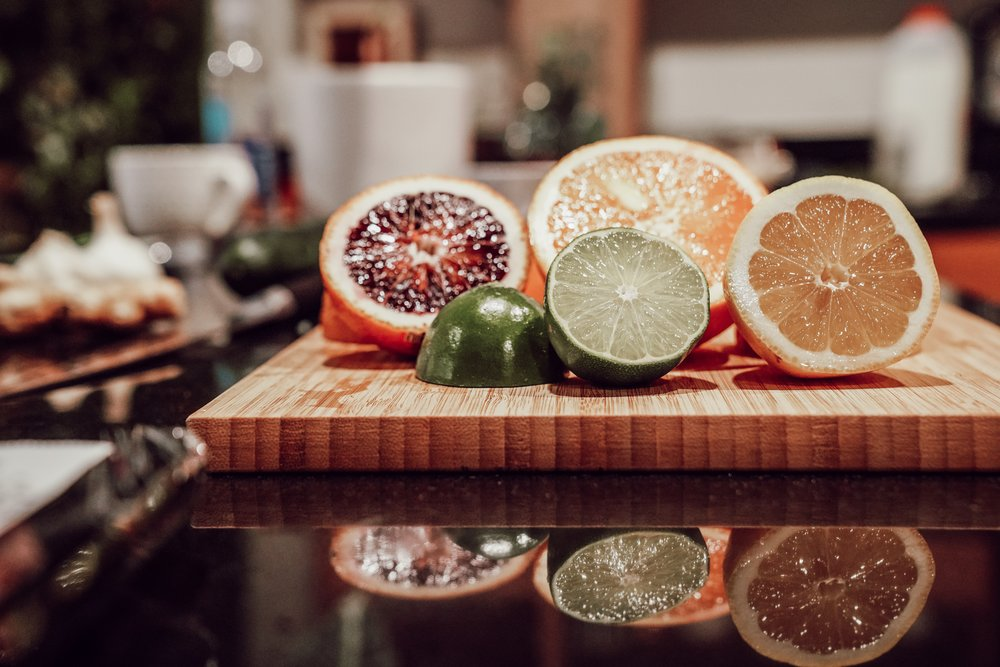 A wide variety of citrus fruits for our salmon crudo.