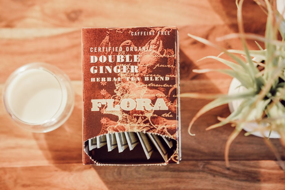 Hot Ginger Milk Tea - Drink this tea if you're on the verge of getting a cold or losing your voice. It will soothe your symptoms and give you a nice boost in energy.Steep the Double Ginger Tea in 1/2 cup of hot waterAdd 1/2 cup of warm almond milkA dash of creamer2 teaspoons of honeyEnjoy!