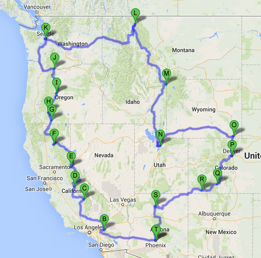 US Map Road Trip