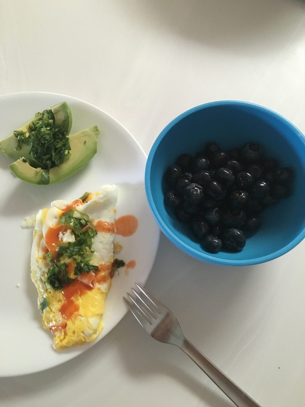 If I can make a healthy breakfast, anyone can. 2 eggs fried in coconut oil with diced cilantro. Avocado with diced cilantro and lime. Small bowl of blueberries.