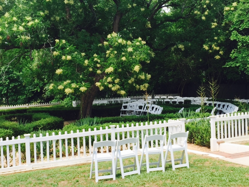 4. The Garden: Ideal for a guest count around 75, the box garden can be the perfect backdrop to your intimate southern summer wedding. Arrange the ceremony chairs radially within the box hedge to add a whimsical feel.