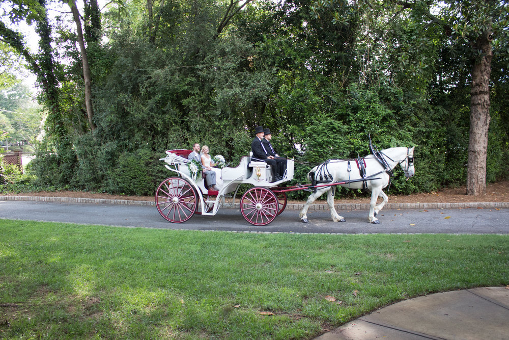 Alex and Joe are delivered by carriage to their ceremony.