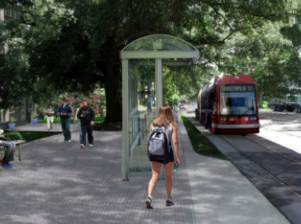 A proposed streetcar on the Nicholson Corridor in Baton Rouge.