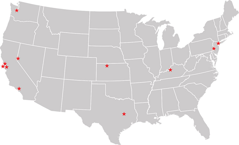 A map of all the past locations of Stars & Stripes exhibitions around the country.