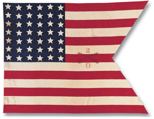 42-star Swallowtail flag, commonly carried by U.S. cavalry troops in the 1890's.
