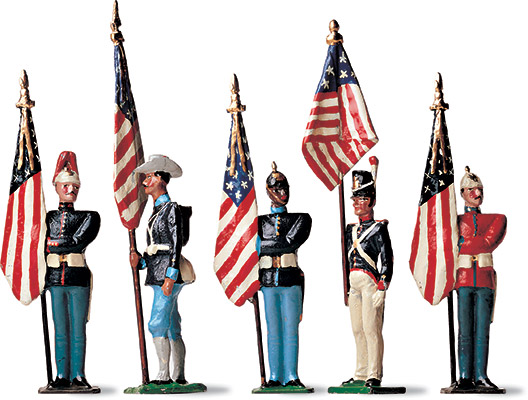 Not only a plaything but also a means to instruct boys in the military arts, toy-soldier sets have existed since the days of the Egyptian pharaohs. Virtually every set has included a flag bearer who embodied the nation's honor, carrying it into battle and serving as a rallying point for the troops.