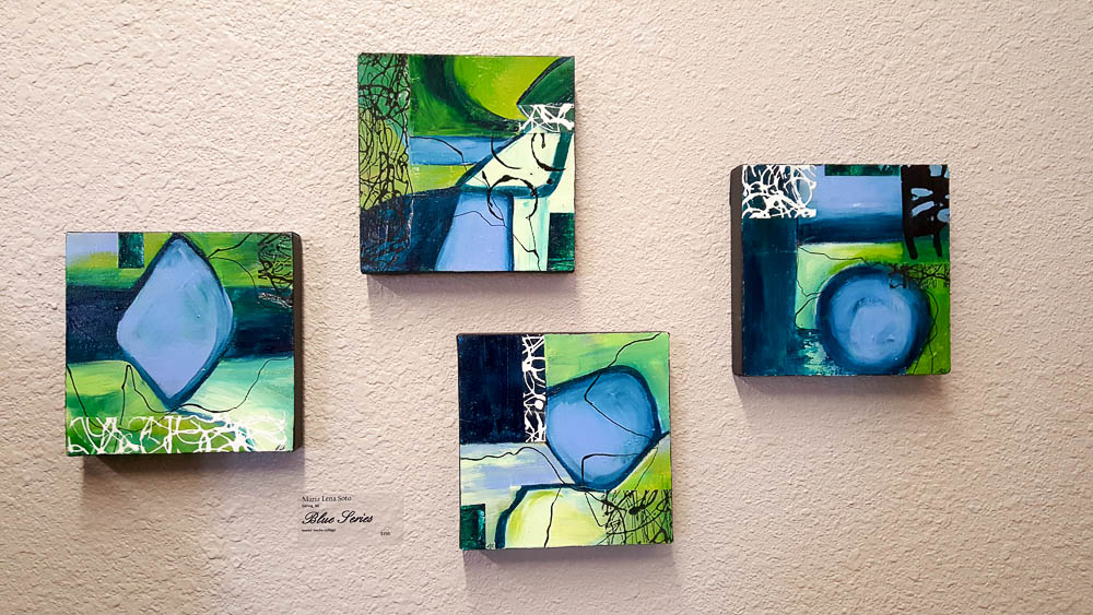 "Maria Lena Soto,     Blue Series , mixed media collage,  each 8"" X 8"", $150."