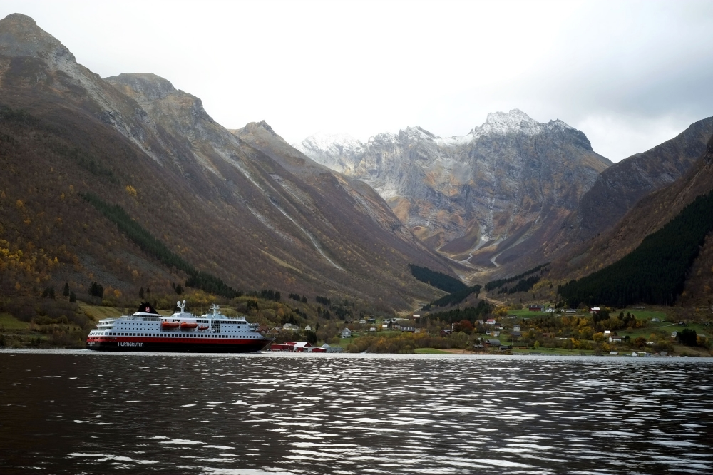 Hurtigruten in front of Urke, late October.