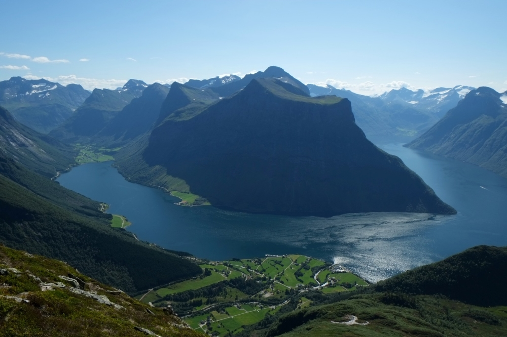 Urke and Hjørundfjorden seen from the mountain Saksa.