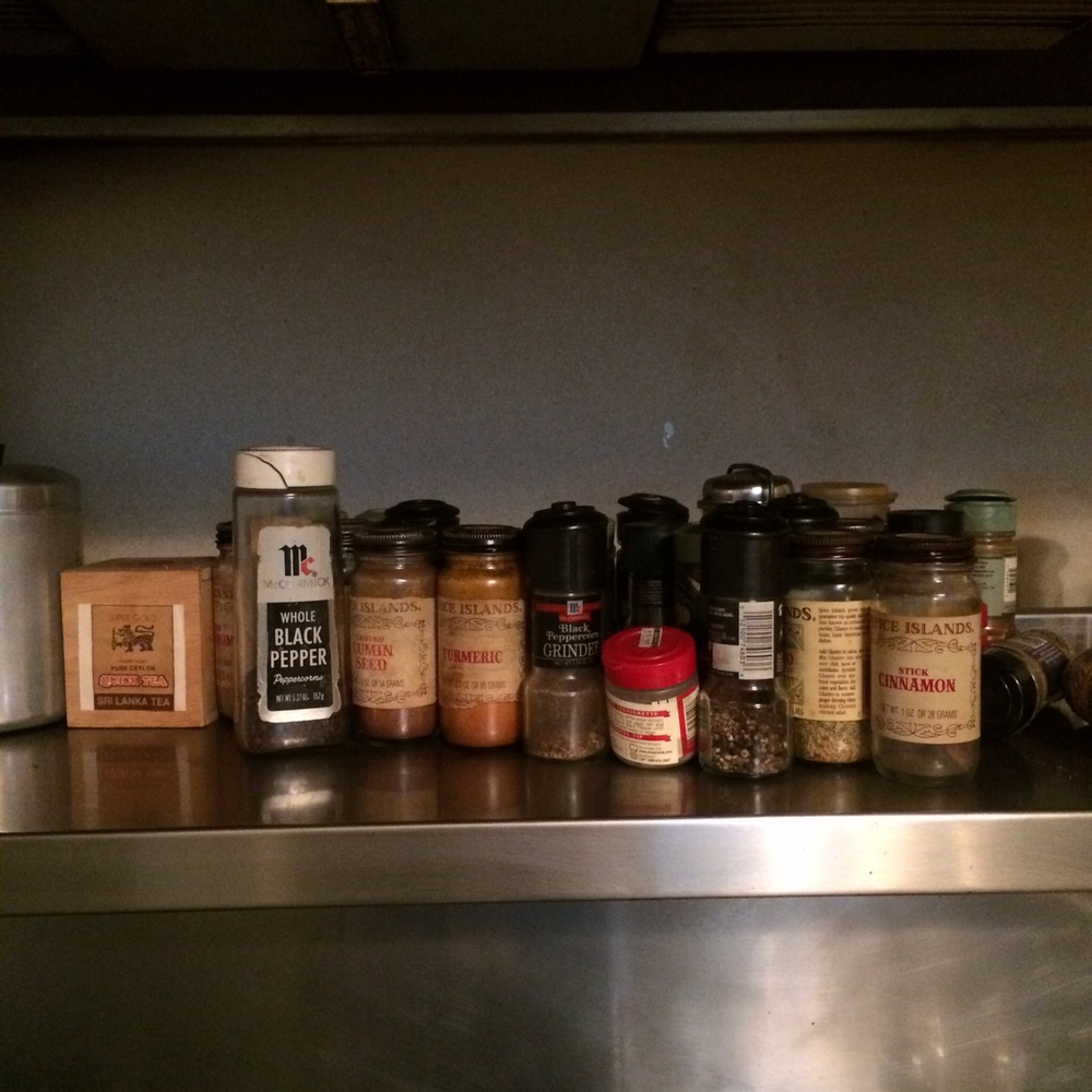 These spices haven't been used in over 20 years, but my mother likes to keep them just where they are.