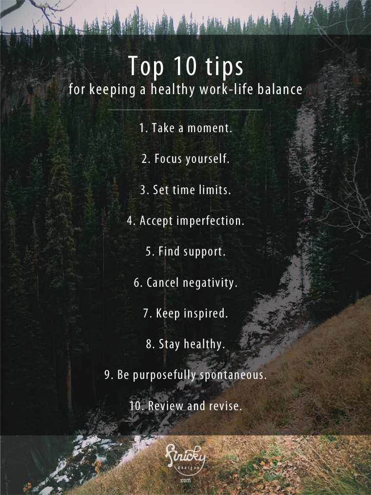 Top 10 tips for keeping a healthy work-life balance plus a FREE tool | finicky designs