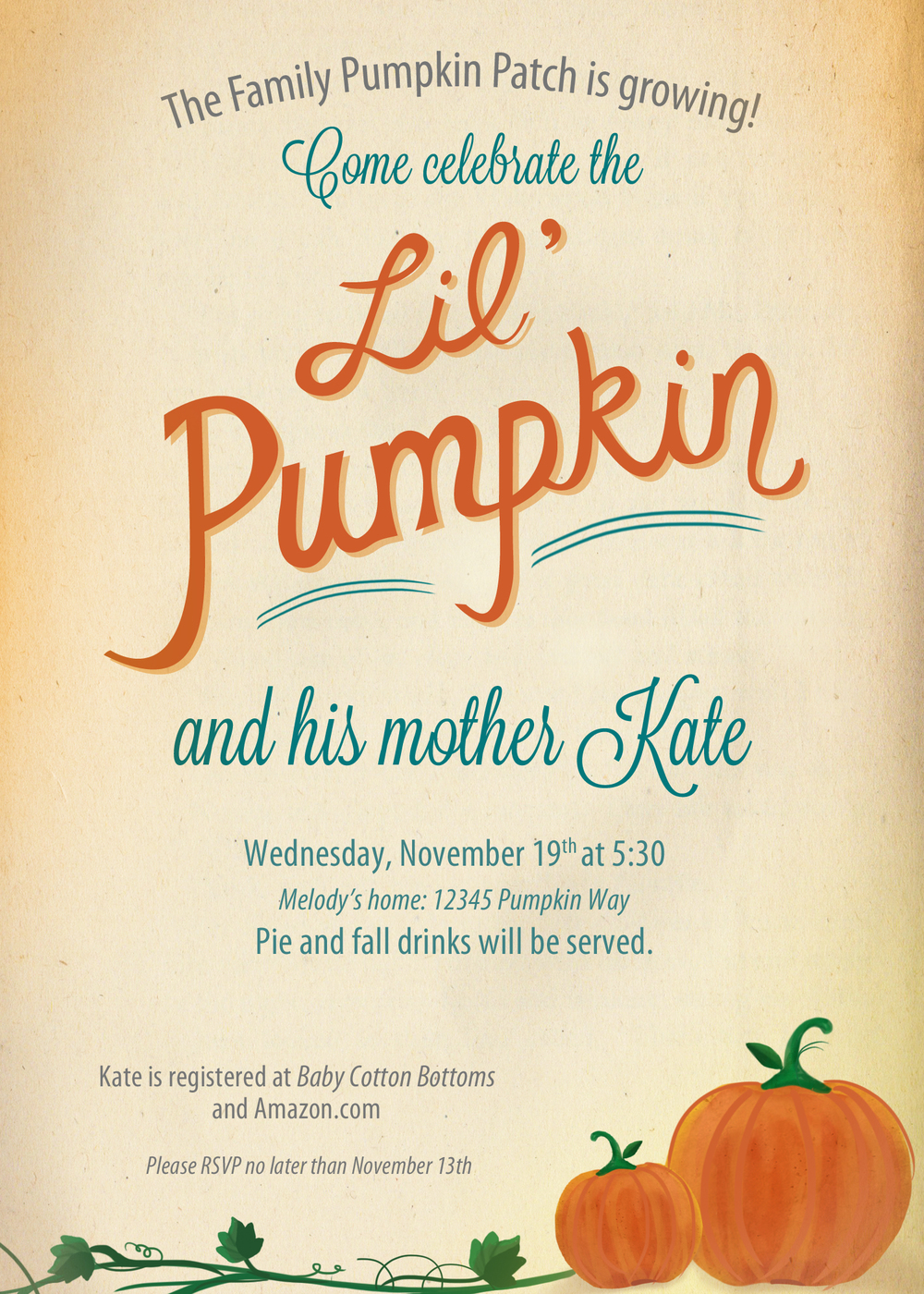 Lil Pumpkin baby shower invitation | by finicky designs