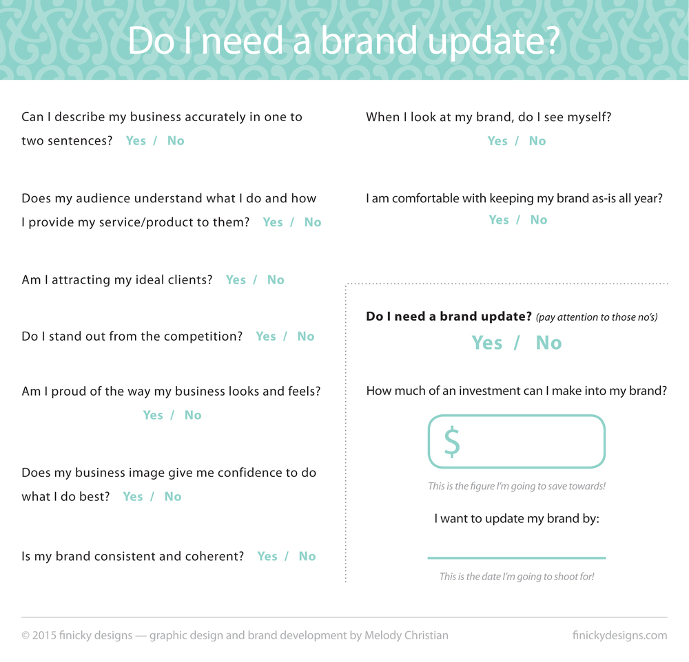 A FREE questionnaire to help you decide if your business needs a brand update! Download from finickydesigns.com