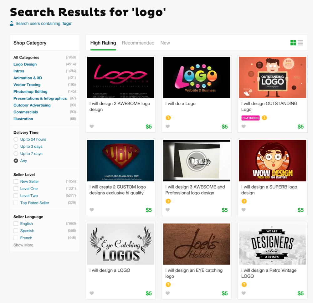 Fiverr browse page - What makes for $5 logo sites so appealing? | finicky designs