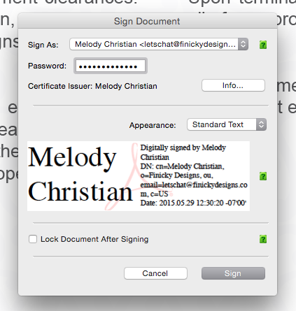 Digitally sign a pdf